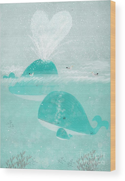 Whales Wood Print featuring the painting A Little Love by Bri Buckley