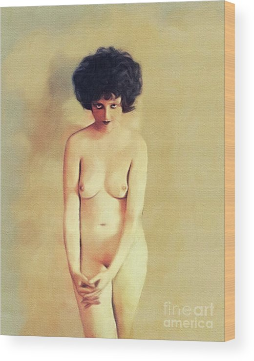 Clara Wood Print featuring the painting Clara Bow, Vintage Movie Star Nude by Mary Bassett