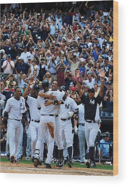 American League Baseball Wood Print featuring the photograph Derek Jeter by New York Daily News