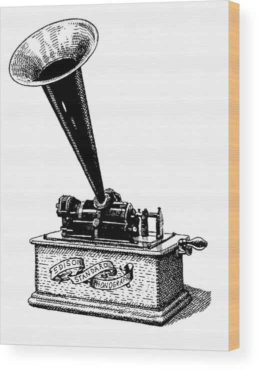 Phonograph. Edison. Edison's Phonograph. Wax Cylinder. Phonograph Illustration. Edison Illustration. Edison's Phonograph Illustration. Wax Cylinder Illustration. Wood Print featuring the drawing Edisons Baby by Dan Nelson
