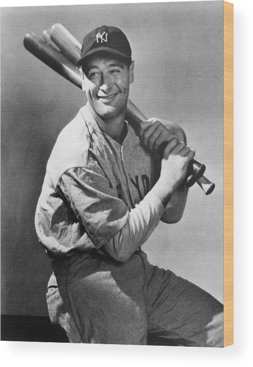 People Wood Print featuring the photograph Lou Gehrig Holding Three Baseball Bats by Pictorial Parade