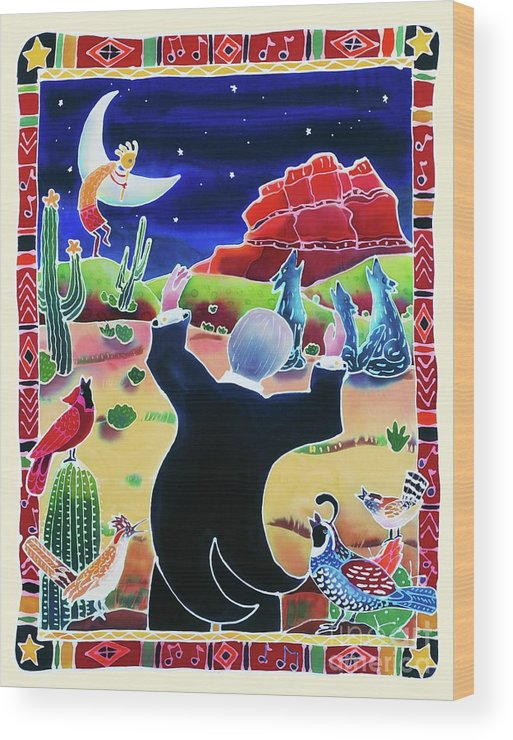 Desert Wood Print featuring the painting Music Of The Desert Night by Harriet Peck Taylor