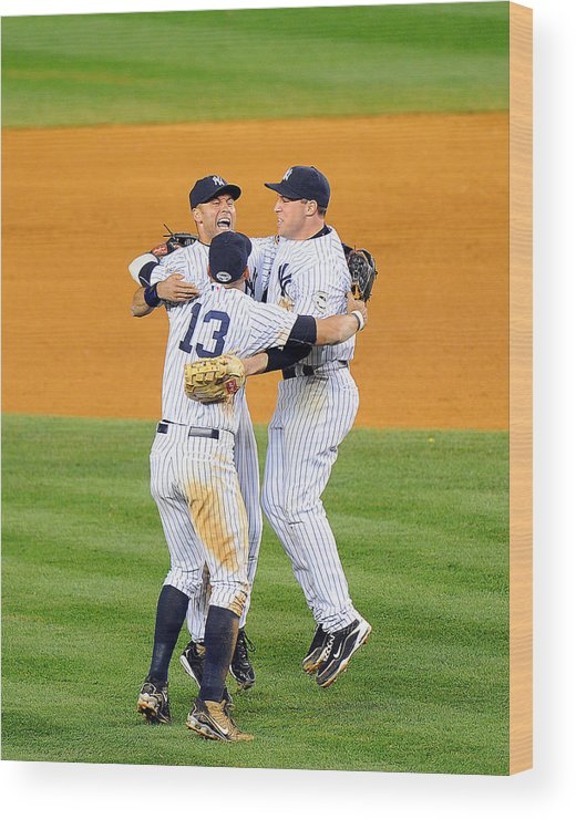 American League Baseball Wood Print featuring the photograph New York Yankees Alex Rodriguez, Derek by New York Daily News Archive