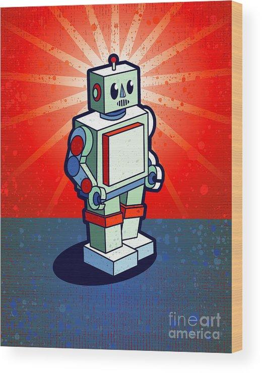 Grunge Wood Print featuring the digital art Old School Robot by Artplay