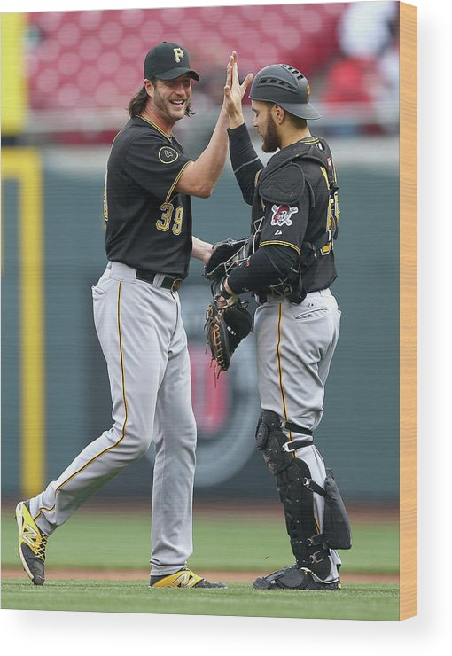 Great American Ball Park Wood Print featuring the photograph Russell Martin And Jason Grilli by Andy Lyons