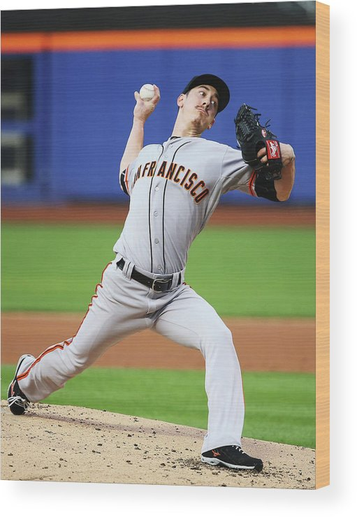 American League Baseball Wood Print featuring the photograph Tim Lincecum by Al Bello