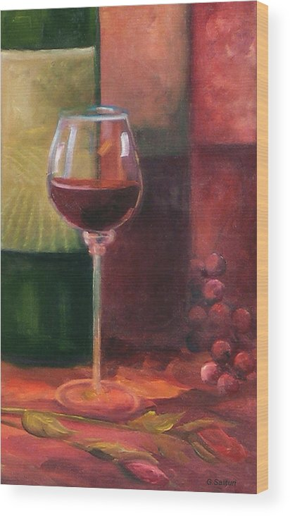 Wine Wood Print featuring the painting Wine Glass by Gail Salitui