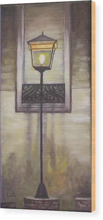Landscape Wood Print featuring the painting Street Lamp by Srilata Ranganathan