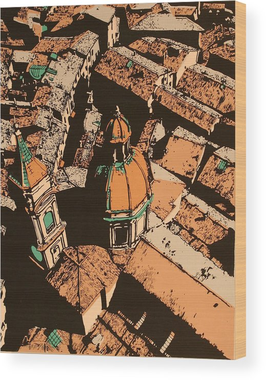 Wood Print featuring the print Roofs Of Bologna by Biagio Civale