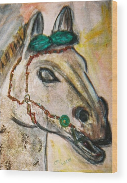 Horse Wood Print featuring the painting Clay Horse by JuneFelicia Bennett