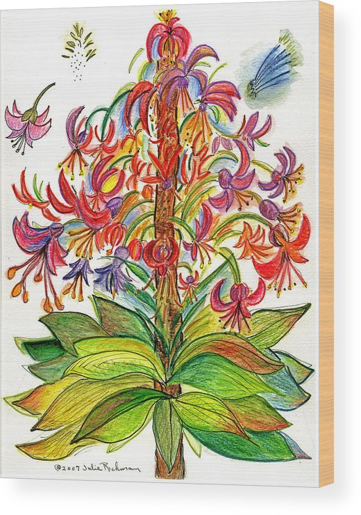 Flowers Nature Botany Drawing Julie Richman Flora Pencil Wood Print featuring the painting Funny Flowers On Green Plant by Julie Richman