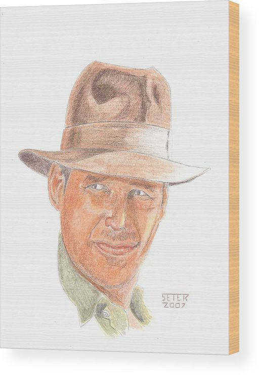 Indiana Jones Harrison Ford Wood Print featuring the mixed media Indy by David Seter