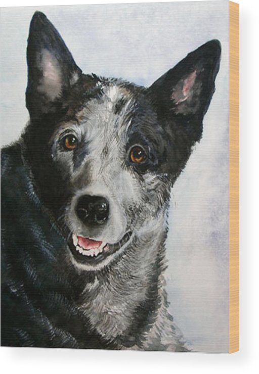 Canine Wood Print featuring the painting Kellie by Gina Hall