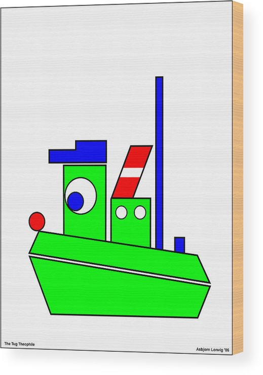 Theophile Wood Print featuring the digital art Theophile The Tug by Asbjorn Lonvig