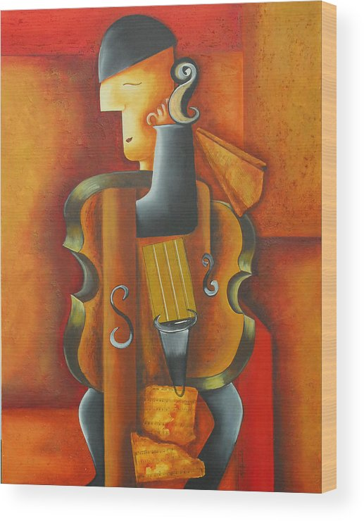 Abstract Expressionism Wood Print featuring the painting Violin Time by Marta Giraldo