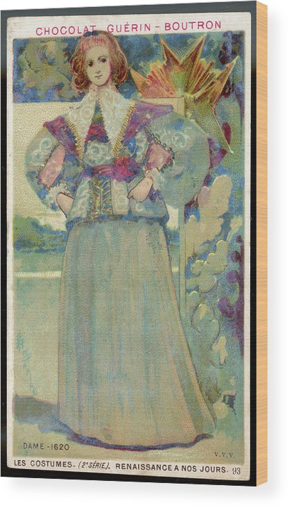 Costume Wood Print featuring the drawing A Middle-class Lady In Lacy Collar by Mary Evans Picture Library