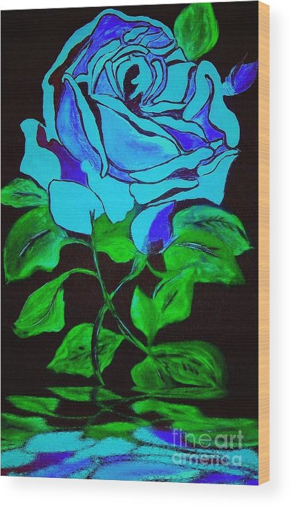 Rose Wood Print featuring the painting Blue Rose In The Rain by Saundra Myles