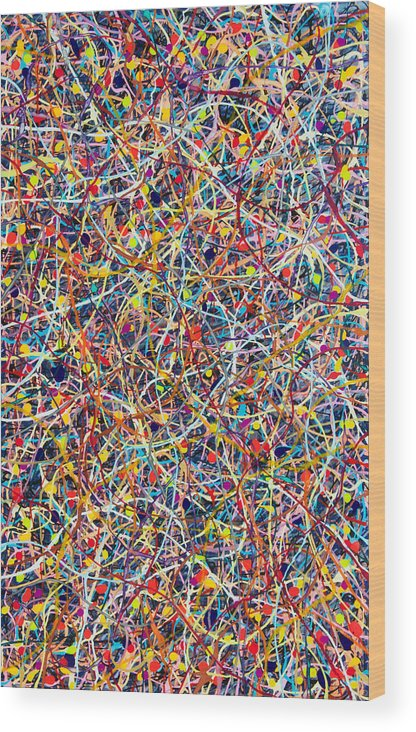 Plexiglass Wood Print featuring the painting Blue String Theory by Patrick OLeary