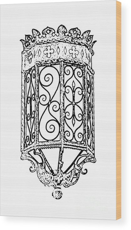Sconce Wood Print featuring the digital art Colorful Vibrant Red Green Gothic Sconce Light Black And White Stamp Digital Art by Shawn O'Brien