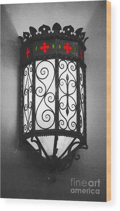 Sconce Wood Print featuring the digital art Colorful Vibrant Red Green Gothic Sconce Light Film Grain Color Splash Digital Art by Shawn O'Brien
