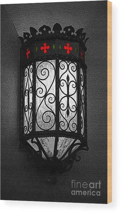 Sconce Wood Print featuring the digital art Colorful Vibrant Red Green Gothic Sconce Light Poster Edges Color Splash Digital Art by Shawn O'Brien