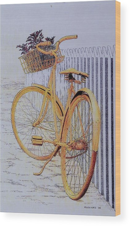 Bicycle Yellow Summer Flowers Plants Wood Print featuring the painting Endless Summer by Tony Ruggiero