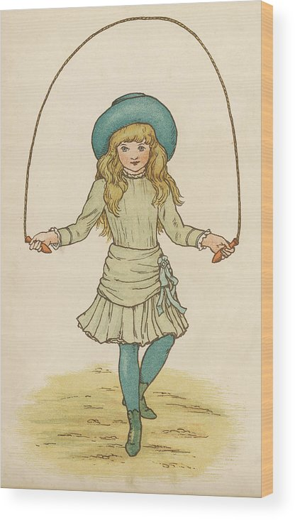 Girl Wood Print featuring the drawing Girl Skipping by Mary Evans Picture Library