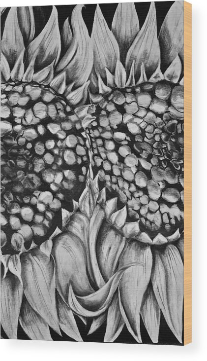 Flowers Wood Print featuring the drawing I Missed You by Matthew Abraham