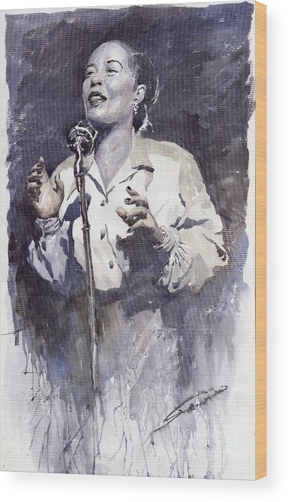 Billie Holiday Wood Print featuring the painting Jazz Billie Holiday Lady Sings The Blues by Yuriy Shevchuk