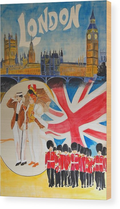 Vintage Poster Wood Print featuring the digital art London Vintage Poster by Cool Canvas