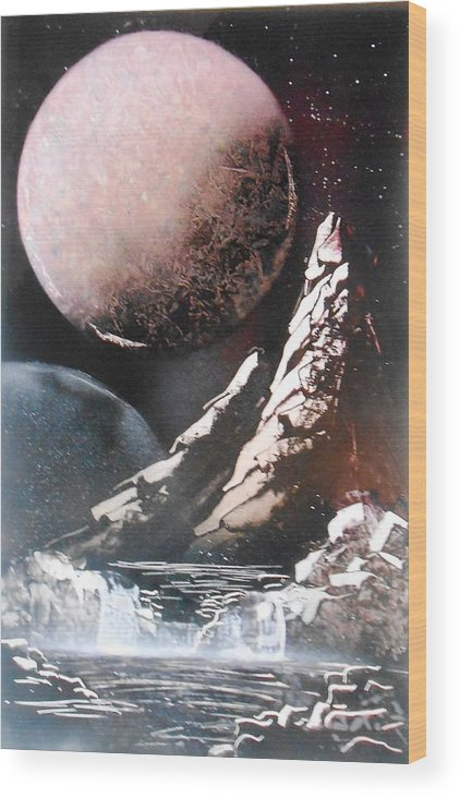 Space Wood Print featuring the painting Space Mountains by Aaron Beeston