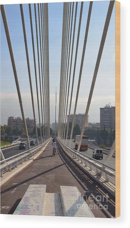 String Wood Print featuring the photograph String Bridge In Seville Andalucia by Regina Siebrecht