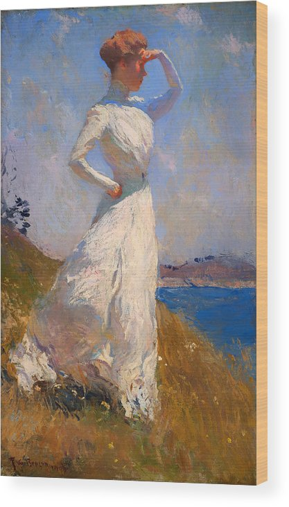 Woman Wood Print featuring the painting Sunlight by Mountain Dreams