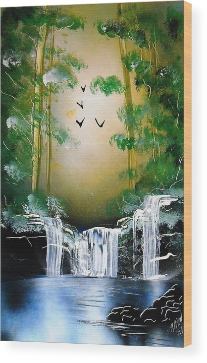 Forest Wood Print featuring the painting Sunrise by Aaron Beeston