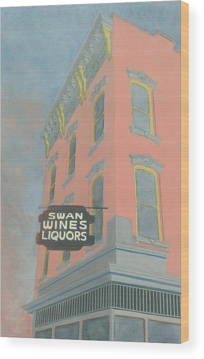 Cityscape Wood Print featuring the painting Swan Liquors by David Hinchen
