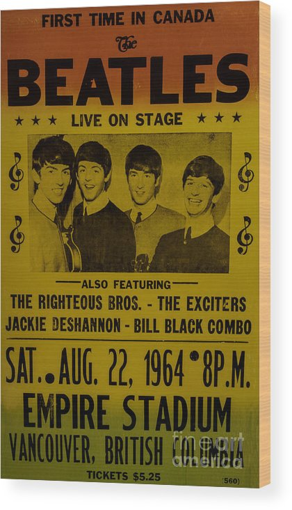 The Beatles First Time In Canada Poster Wood Print featuring the photograph The Beatles First Time In Canada. by Mitch Shindelbower