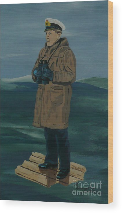 Captain Wood Print featuring the painting The Captain by Anthony Dunphy