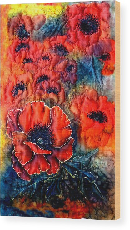 Wall Hanging Wood Print featuring the mixed media Pretty Poppies by Rayne Van Sing