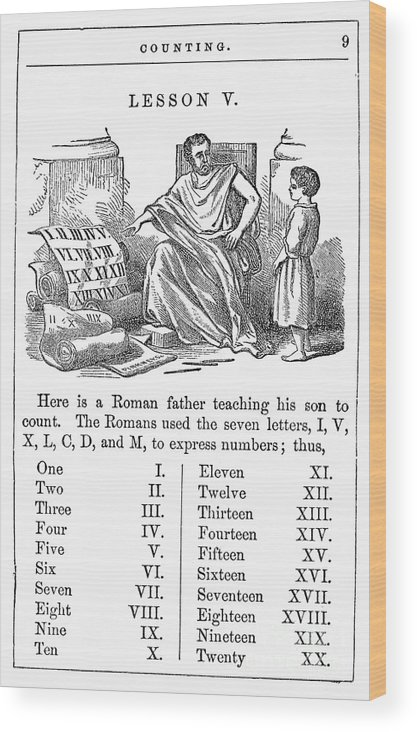 1845 Wood Print featuring the photograph Primer: Roman Numerals by Granger