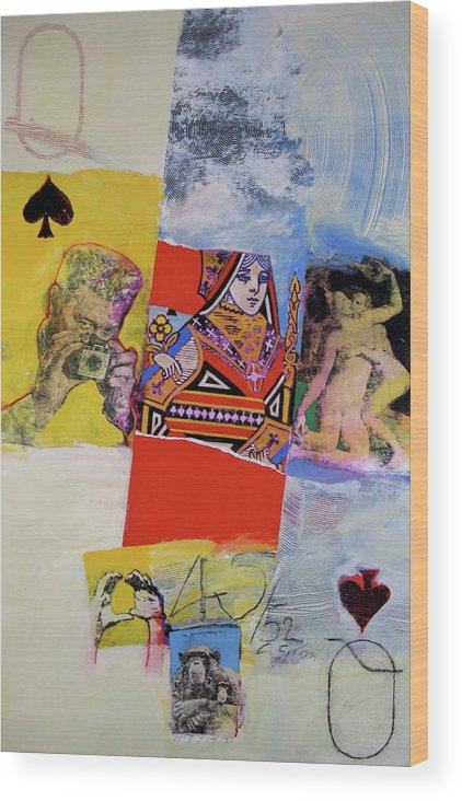 Acrylic Wood Print featuring the mixed media Queen Of Spades 45-52 by Cliff Spohn