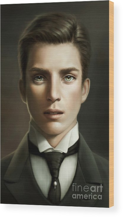 Male Wood Print featuring the painting Valerius by Doris Mantair