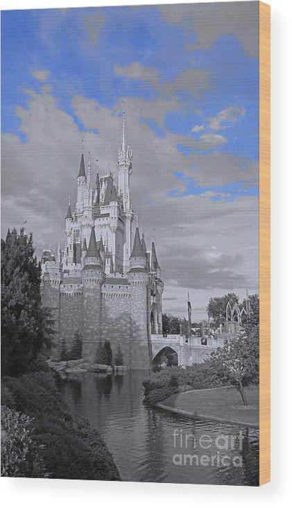 Walt Disney World Magic Kingdom Cinderella Castle Black And White Blue Sky River Reflection Water Wood Print featuring the pyrography Walt Disney World - Cinderella Castle by AK Photography