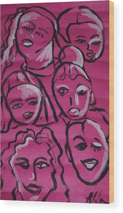 Pink Wood Print featuring the drawing Girls Think Pink by Aldonia Bailey