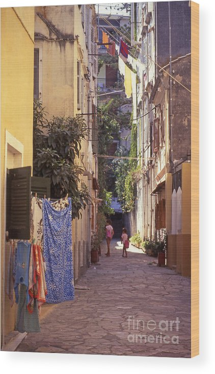 Corfu Wood Print featuring the photograph Greece. Venetian Street In Corfu Old Town. by Steve Outram