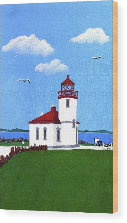Lighthouse Wood Print featuring the painting Alki Point Lighthouse by Frederic Kohli