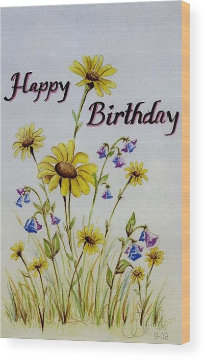 Card Wood Print featuring the painting Birthday Card by Jimmy Smith