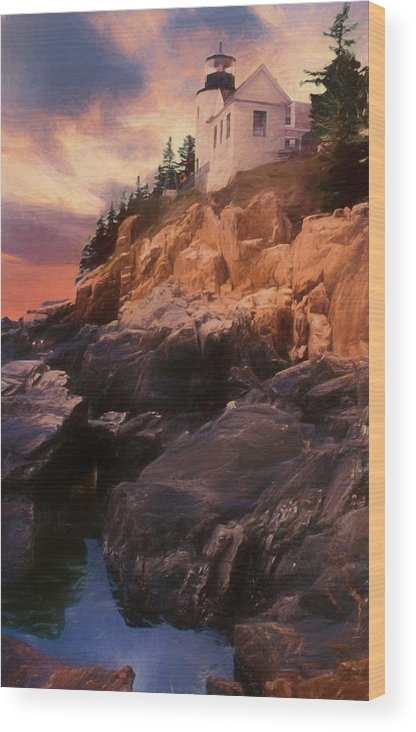 Acadia Nat. Park Wood Print featuring the photograph An Art Photograph Of Bass Harbor Lighthouse,acadia Nat. Park Ma by Rusty R Smith