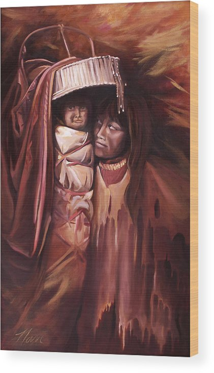 Native American Wood Print featuring the painting Apache Girl And Papoose by Nancy Griswold