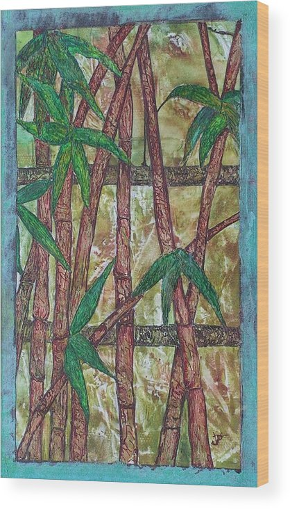 Bamboo Wood Print featuring the painting Bamboo by John Vandebrooke
