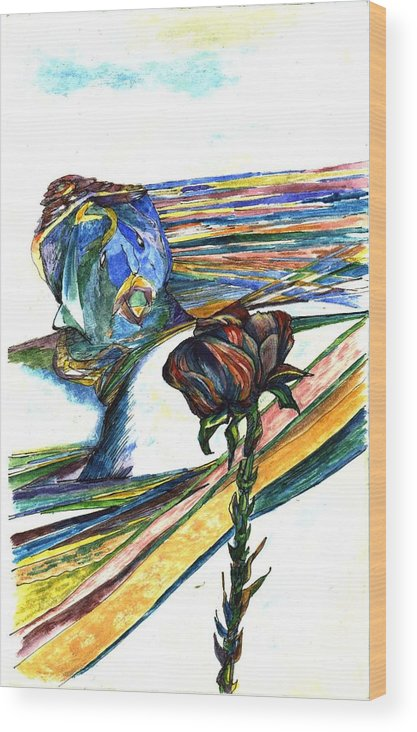 Flowers Wood Print featuring the painting Blue Rose by Lily Hymen